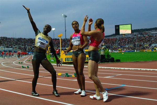 Dawn Harper, Brigitte Foster-Hylton and Priscilla Lopes-Schliep await the results of the women's 100m Hurdles (Getty Images)