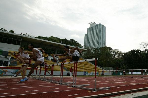 The men's 110m Hurdles final at te Asian Junior Championships in Jakarta (organisers)