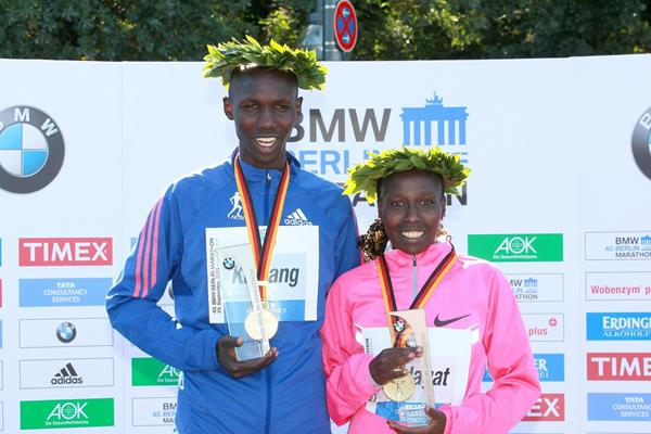 Wilson Kipsang and Florence Kiplagat at the 2013 BMW Berlin Marathon (Victah Sailer / organisers)