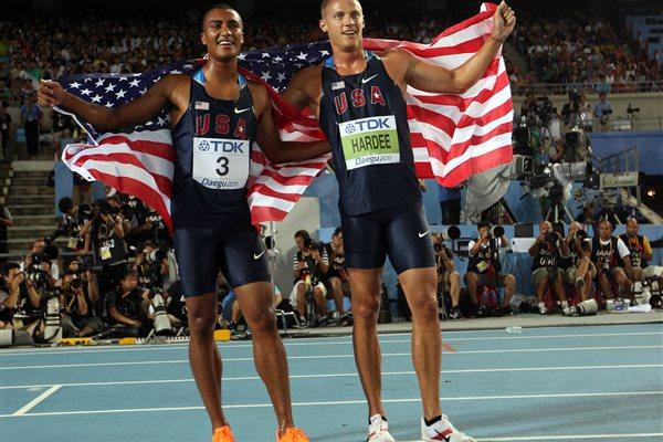 Trey Hardee and Ashton Eaton celebrate winning gold and silver respectively in Daegu (Getty Images)