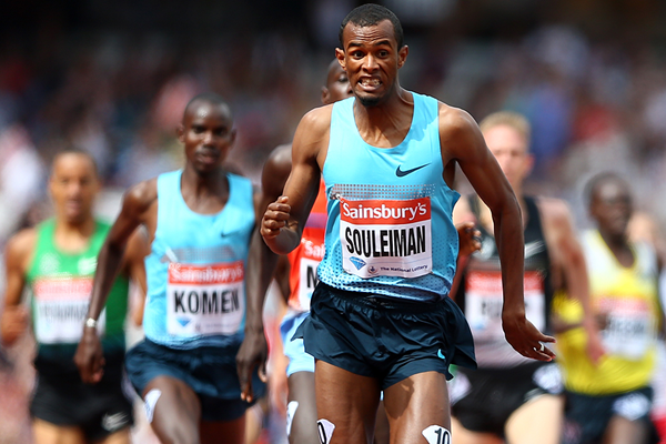 Ayanleh Souleiman leads the mile at the IAAF Diamond League meeting in London (Getty Images)
