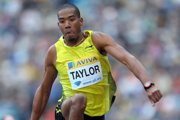 Christian Taylor on his way to a big PB of 17.68m in London (Mark Shearman)