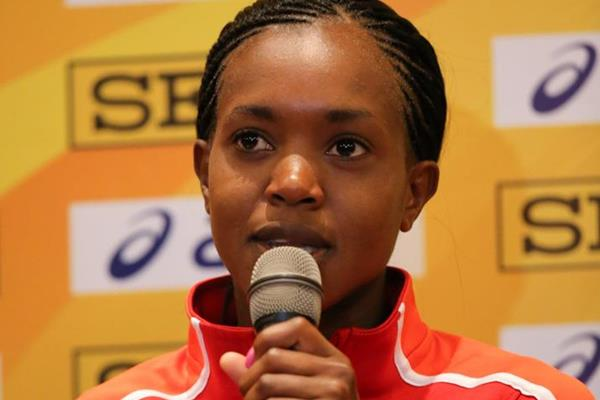 Faith Kipyegon at the IAAF/LOC press conference in Kampala (Roger Sedres)