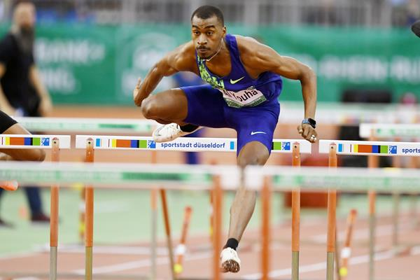 Yaqoub Mohamed Al Youha on his way to winning the 60m hurdles at the World Athletics Indoor Tour meeting in Dusseldorf (Gladys Chai von der Laage)