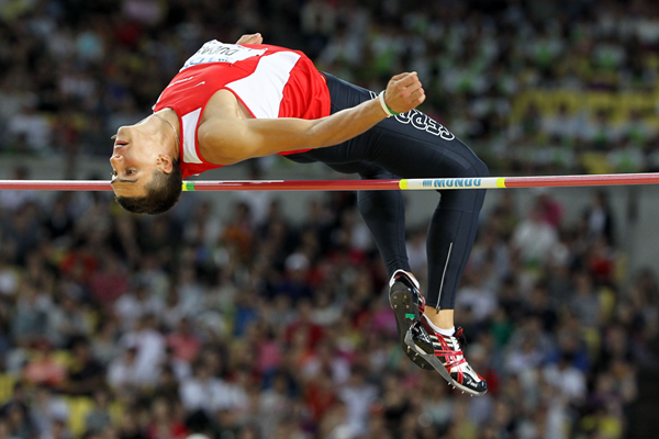 Serbia's Mihail Dudas in action in the decathlon high jump (Getty Images)