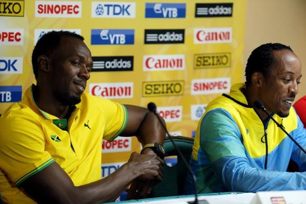 Usain Bolt and Chris Brown at the IAAF/BTC World Relays, Bahamas 2015 press conference (Getty Images)