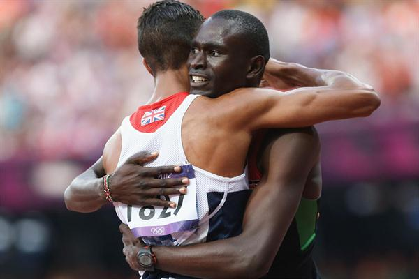 David Lekuta Rudisha of Kenya is congratulated by Andrew Osagie of Great Britain after winning gold and setting a new world record in the Men's 800m Final on Day 13 of the London 2012 Olympic Games on 9 August 2012 (Getty Images)
