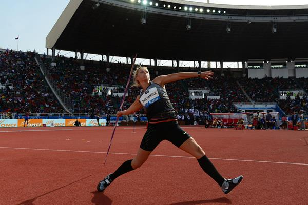 Madara Palameika in the javelin at the IAAF Diamond League meeting in Rabat (Kirby Lee)