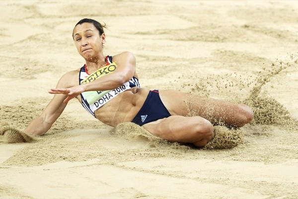 Jessica Ennis of GBR in action in the Pentathlon Long Jump (Getty Images)
