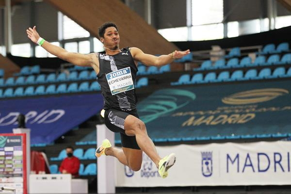 Long jump winner Juan Miguel Echevarria in action at the World Athletics Indoor Tour Gold meeting in Madrid (Jean-Pierre Durand)