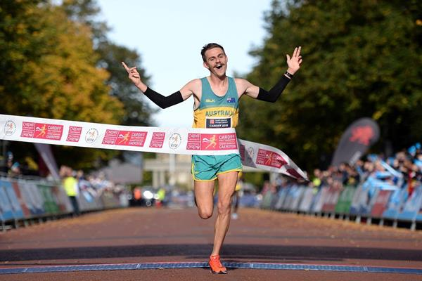 Jack Rayner winning the Commonwealth Half Marathon title in Cardiff (Organisers)