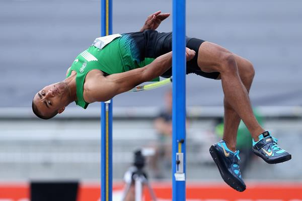 Ashton Eaton in the Decathlon High Jump at the 2013 US Championships (Getty Images)