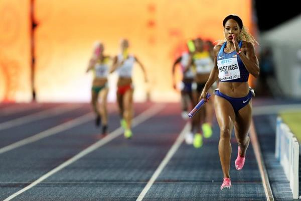 Natasha Hastings in the 4x400m final at the IAAF/BTC World Relays Bahamas 2017 (Getty Images)