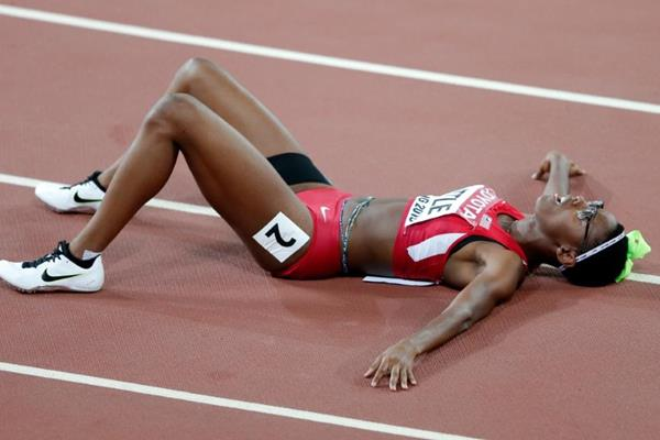 Shamier Little after taking the silver medal in the 400m hurdles at the IAAF World Championships, Beijing 2015 (Getty Images)