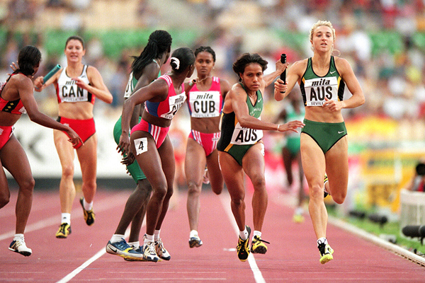Cathy Freeman in the 4x400m at the IAAF World Championships (Getty Images)