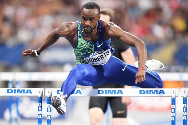 Daniel Roberts wins the 110m hurdles at the IAAF Diamond League meeting in Paris (Gladys Chai von der Laage)