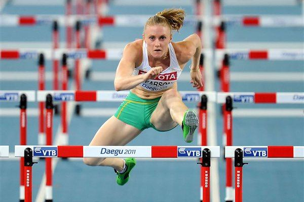 Sally Pearson of Australia competes in the women's 100 metres hurdles semi finals  (Getty Images)
