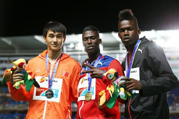 Boys' triple jump medallists at the IAAF World Youth Championships, Cali 2015 (Getty Images)