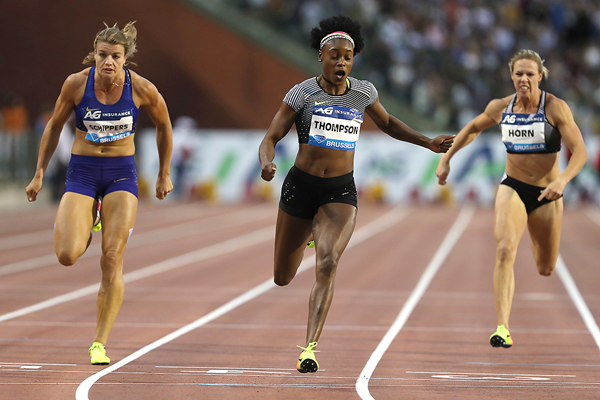 Elaine Thompson wins the 100m at the IAAF Diamond League final in Brussels (Giancarlo Colombo)