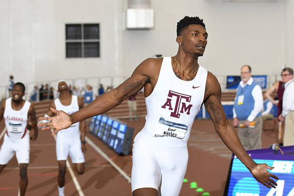 Fred Kerley wins the NCAA indoor 400m title (Kirby Lee)