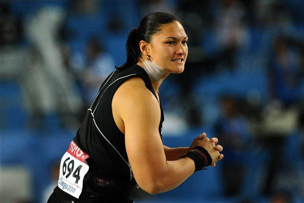 Valerie Adams of New Zealand in action in the women's Shot Put final (Getty Images)