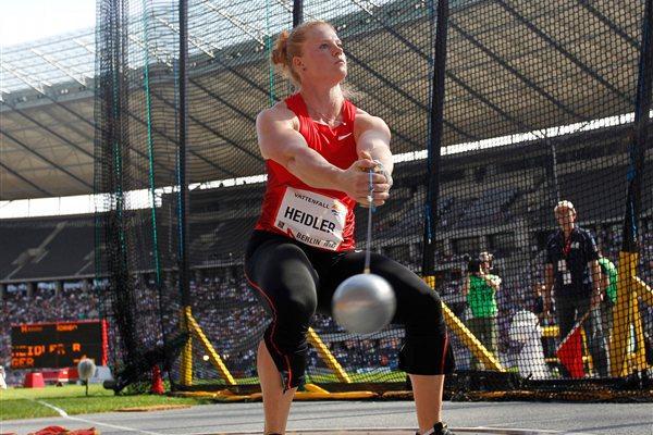 Betty Heidler spins to a 77.40m meet record in Berlin (Gladys Chai van der Laage)
