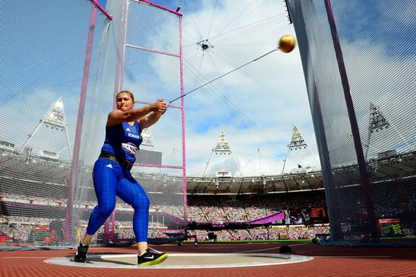 Bianca Perie of Romania competes in the Women's Hammer Throw Qualifications on Day 12 of the London 2012 Olympic Games at Olympic Stadium on August 8, 2012 (Getty Images)