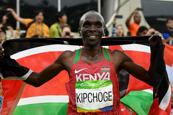 Eliud Kipchoge after winning the men's marathon at the 2016 Rio Olympic Games (Getty)