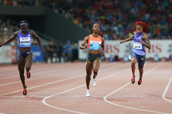 Shelly-Ann Fraser-Pryce wins the 100m at the IAAF Diamond League meeting in Zurich (Jean-Pierre Durand)