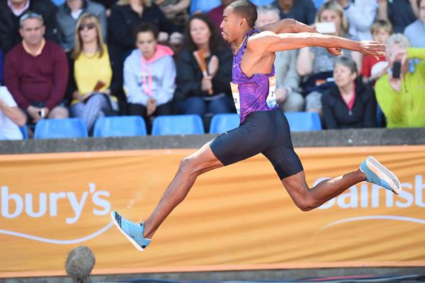 Christian Taylor at the 2015 IAAF Diamond League meeting in Birmingham (Jean-Pierre Durand)
