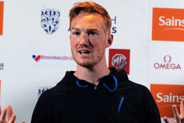 Greg Rutherford at the press conference for the IAAF Diamond League meeting in Birmingham (Jean-Pierre Durand)