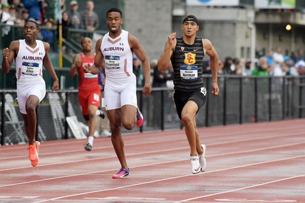 Michael Norman in the 400m at the NCAA Championships (Kirby Lee)