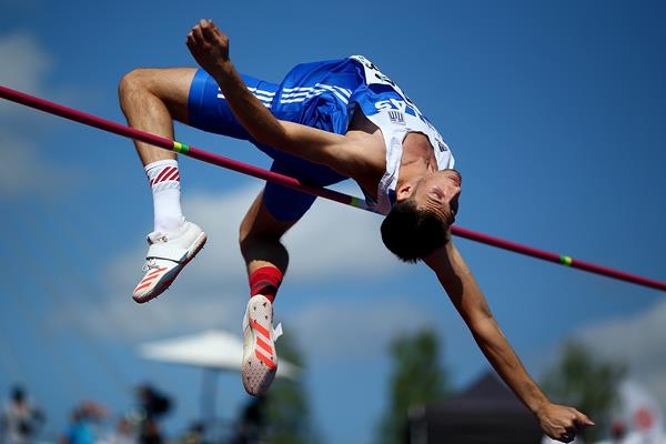 Antonios Merlos in the high jump at the IAAF World U20 Championships Tampere 2018 (Getty Images)