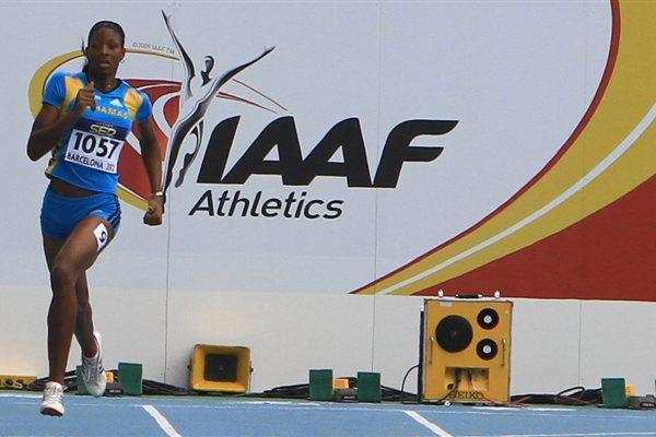 Shaunae Miller of Bahamas in action in Barcelona (Alberto Montenegro)