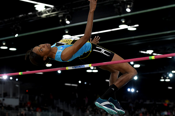 Levern Spencer in the high jump at the IAAF World Indoor Championships Portland 2016 (AFP / Getty Images)