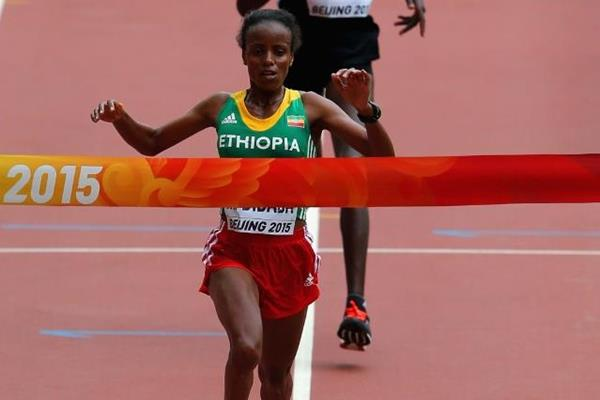 Mare Dibaba wins the marathon at the IAAF World Chamionships, Beijing 2015 (Getty Images)