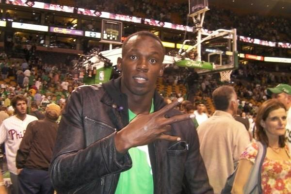 Usain Bolt at game 5 of the NBA finals in Boston (Ricky Simms)