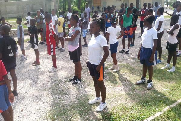 Students at the athletics camp in Haiti (NFP Foundation)