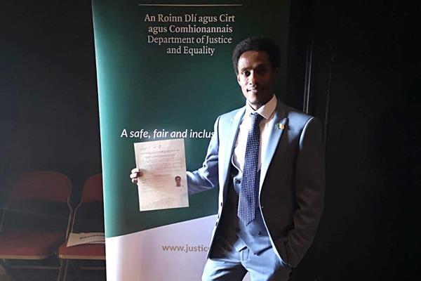 Hiko Tonosa after receiving Irish citizenship (Hiko Tonosa)