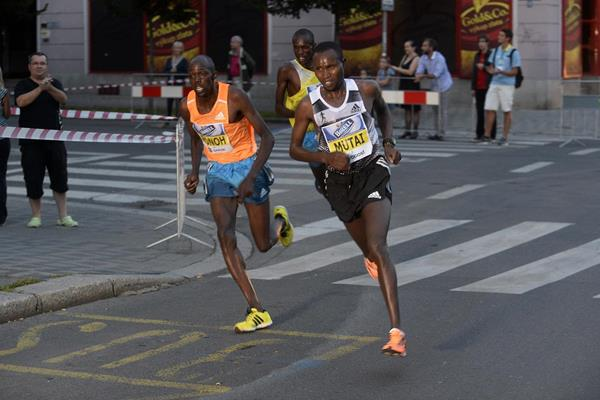 Geoffrey Ronoh and Geoffrey Mutai battling mid-race at the 2014 Birell Prague Grand Prix 10k  (organisers)