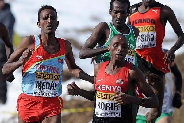 Kenya's Japhet Korir leads Eritrea's Teklemariam Medhin, Ethiopia's Imane Merga and Uganda's Moses Kipsiro at the 2013 IAAF World Cross Country Championships (Getty Images)