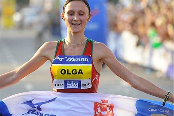 Olha Mazurenok the wnner in Omsk (Siberian International Marathon Organisers)