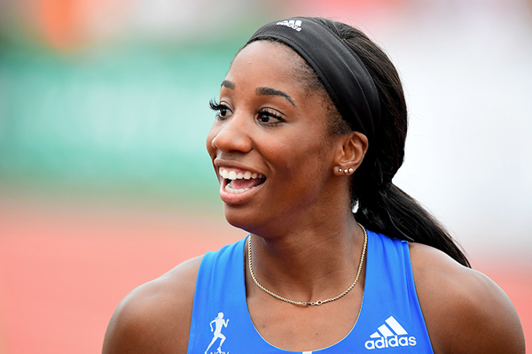 Kendra Harrison after winning the 100m hurdles in Székesfehérvár (AFP / Getty Images)