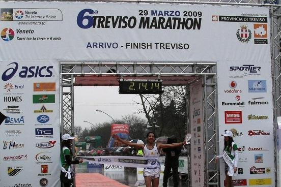 Migidio Bourifa winning the Italian marathon title in Treviso (Alberto Zorzi)