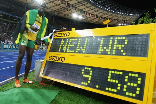 Usain Bolt of Jamaica celebrates winning the gold medal in the men's 100m with a world record of 9.58 seconds (Getty Images)