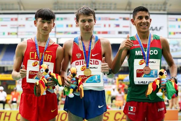 Boys' 10,000m race walk podium at the IAAF World Youth Championships, Cali 2015 (Getty Images)