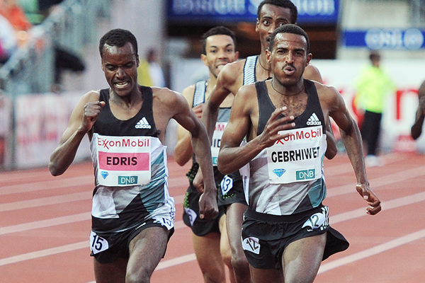 Hagos Gebrhiwet on his way to winning the 5000m at the IAAF Diamond League meeting in Oslo (Mark Shearman)