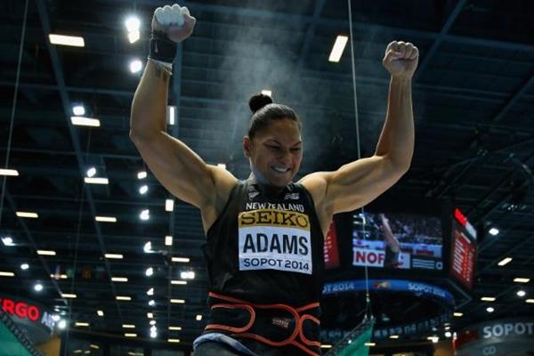 Valerie Adams celebrates her shot put win at the 2014 IAAF World Indoor Championships in Sopot (Getty Images)