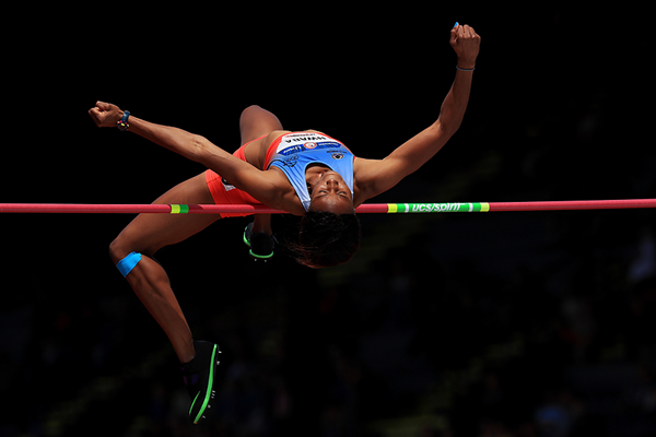 Barbara Nwaba in the heptathlon high jump at the US Olympic Trials (Getty Images)