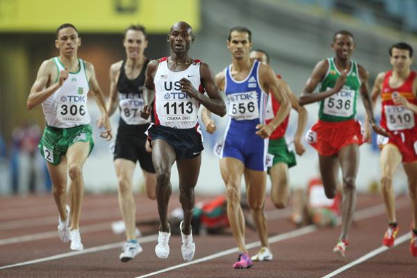 Bernard Lagat of USA leads the field during his Men's 1500m Semi Final (Getty Images)